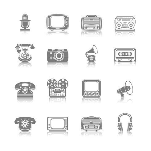 Retro Media Black Icons vector