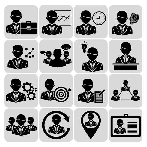 Icônes de commerce et de gestion noires vecteur