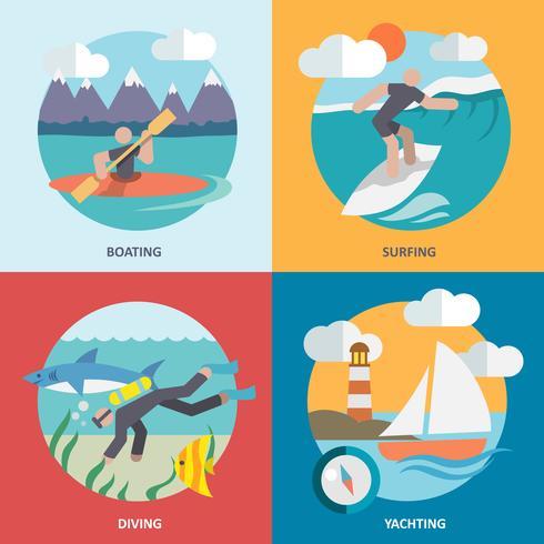 Iconos de deportes acuáticos establecidos planos