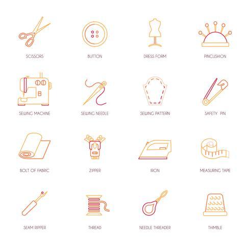 Sewing equipment icons set flat line