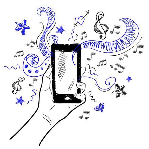 Hand touchscreen schets muziek