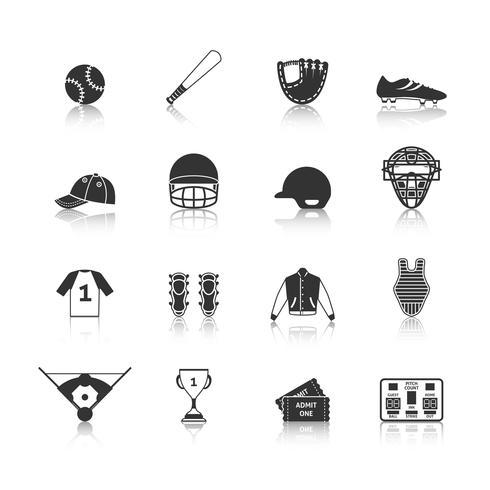 Conjunto de iconos de béisbol negro