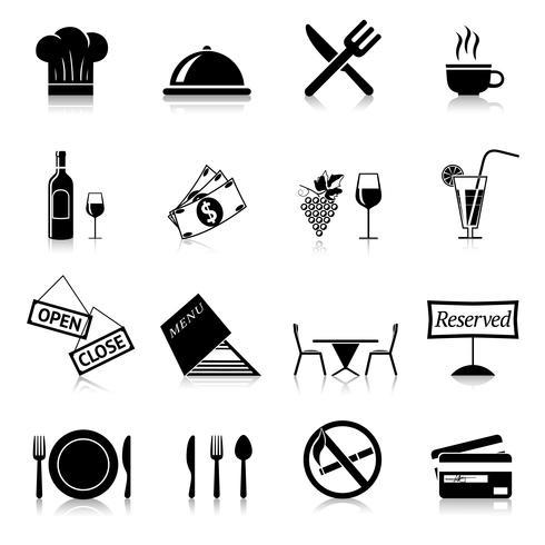 Restaurant pictogrammen zwart