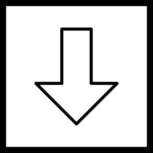 Abajo, icono del vector