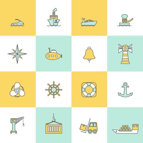 Conjunto de linha plana de ícones do porto marítimo