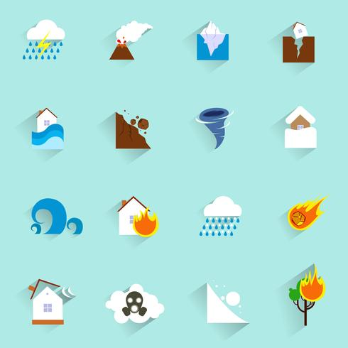 Icone di disastro naturale piatte vettore