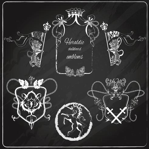 Conjunto de emblemas heráldicos.