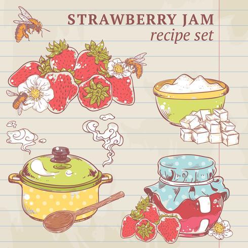 Ingredientes de mermelada de fresa vector