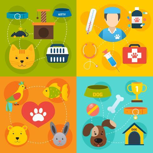 Icone veterinarie impostate piatte