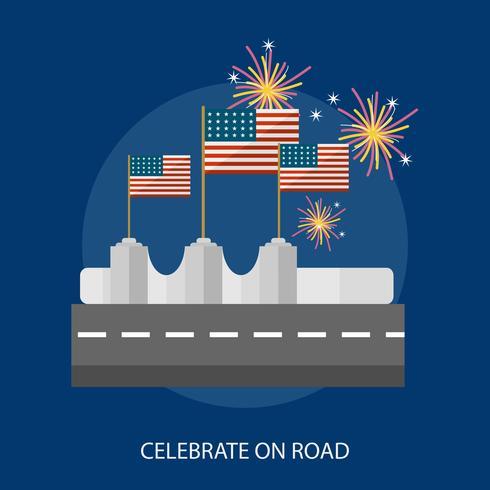 Celebrate On Road Conceptual illustration Design vector