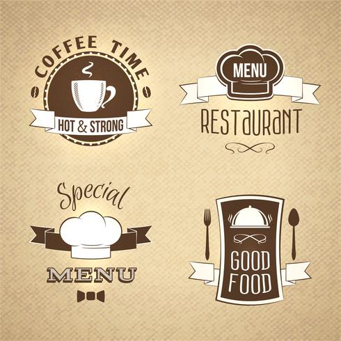 Ensemble de restaurant emblèmes texturé