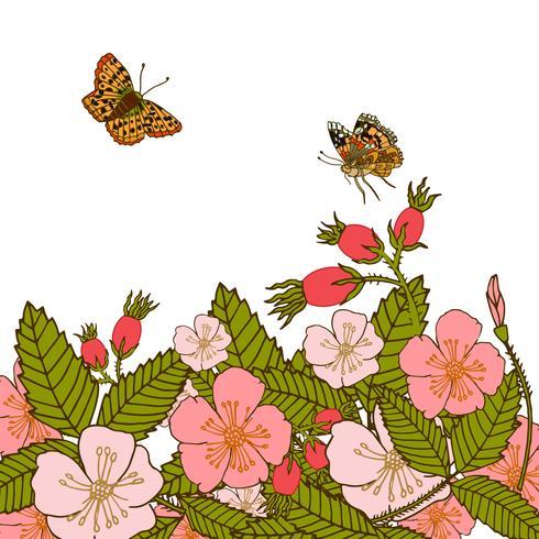 Vintage blommor bakgrund med fjärilar