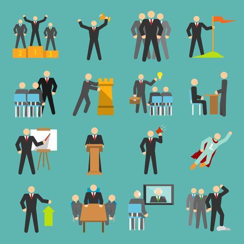Iconos de liderazgo planos vector