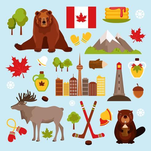 Set decorativo de Canadá vector