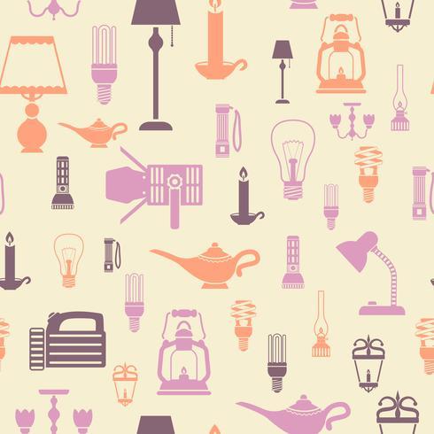 Ficklampa och lampor sömlöst mönster