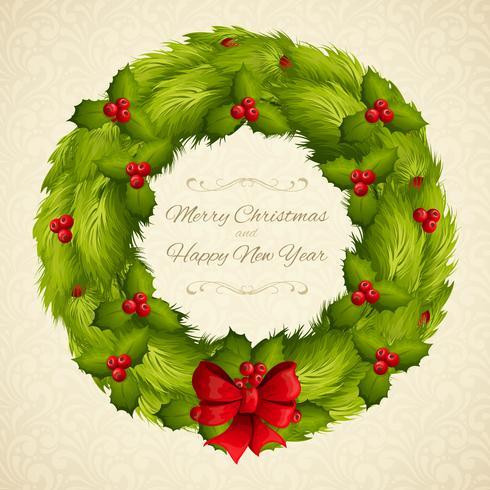 Cartolina ghirlanda di Natale vettore