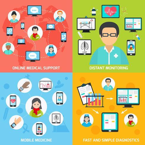 Ícones de saúde móvel conjunto planas