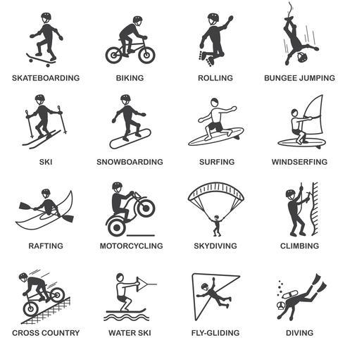 jeu d'icônes de sports extrêmes vecteur