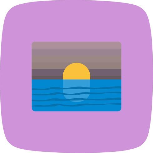 Pôr do sol, vetorial, ícone
