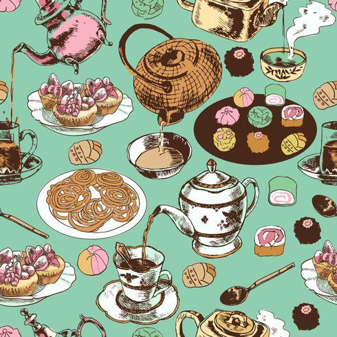 Teekanne und Cup nahtlose Muster vektor