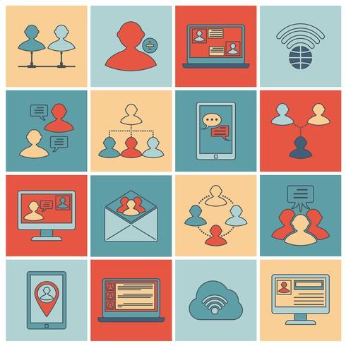 Icônes de communication mis ligne plate