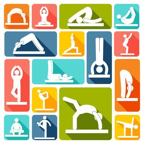 Iconos de ejercicios de yoga planos