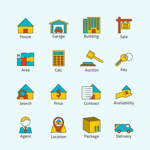 Iconos de línea plana de bienes raíces