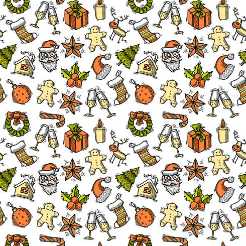 Christmas seamless pattern color vector