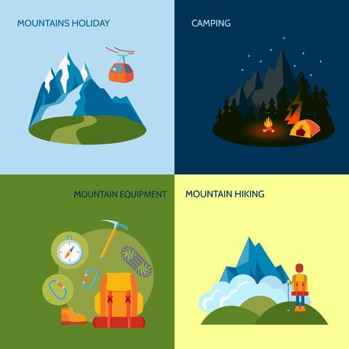 Iconos de camping establecidos planos vector