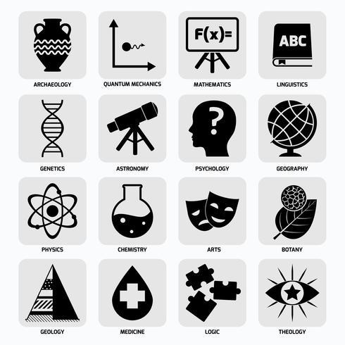 Ícones de áreas de ciência pretos