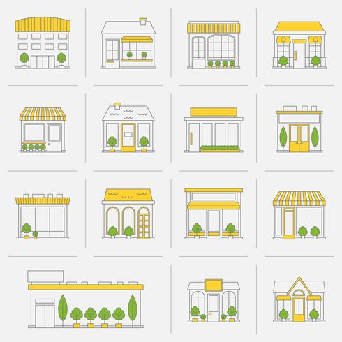 Tienda de iconos de construcción conjunto de línea plana