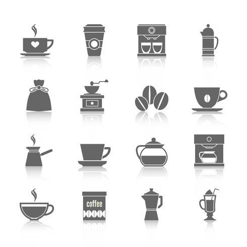 Icônes café noir vecteur