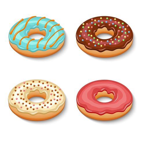 Donut dessert set vector