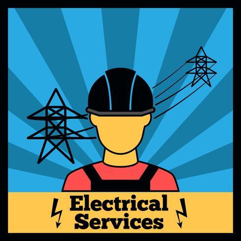 Cartaz de ícone de eletricidade vetor