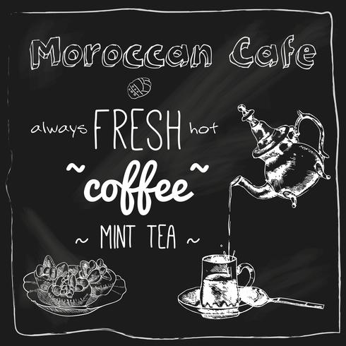Bule e xícara lousa de café marroquino