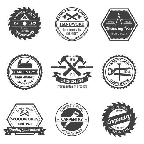 Conjunto de emblemas de carpintería.