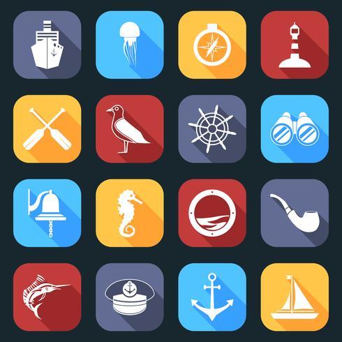 Conjunto de ícones náuticos plano vetor