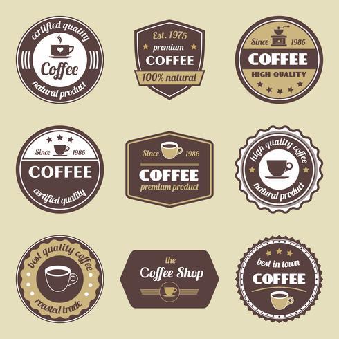 Kaffe etikettuppsättning vektor