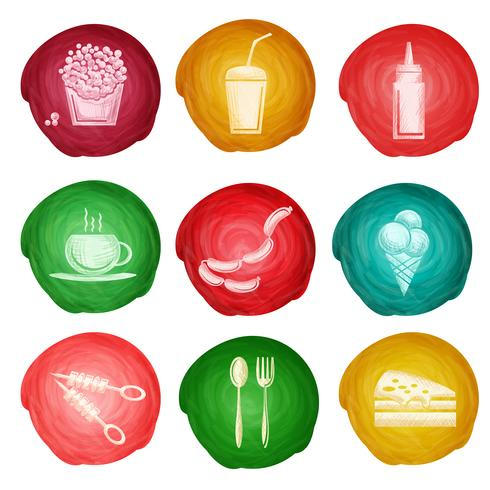 Fast food icon watercolor vector