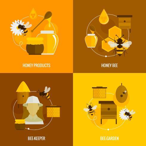 Bee honung ikoner platt
