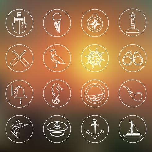Nautical icons set outline vector