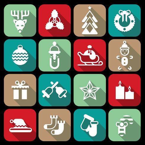 Iconos de Navidad establecidos planos
