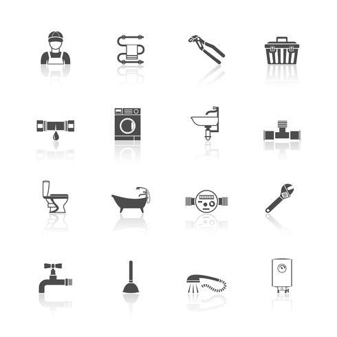 Jeu d'icônes de plomberie vecteur