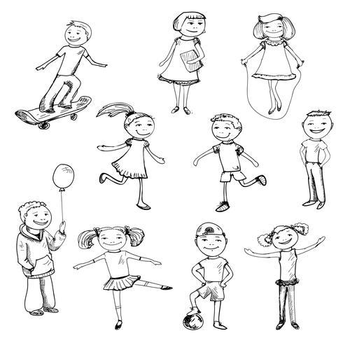 Esboço de personagens de crianças