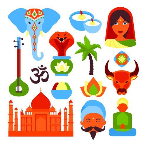 India symbols set vector