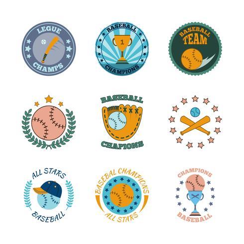 Conjunto de colores de iconos de etiquetas de béisbol vector