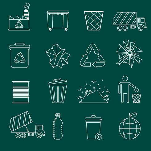 Contorno de ícones de lixo vetor