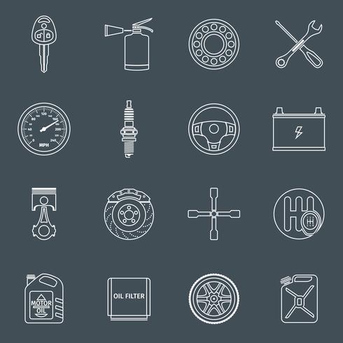 Esquema de los iconos de piezas de automóvil vector