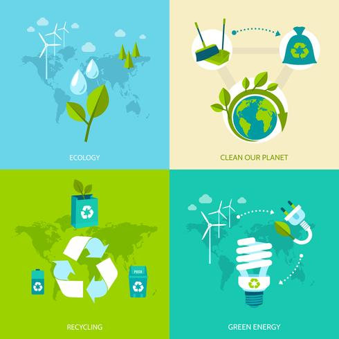 Ecology and recycling set vector