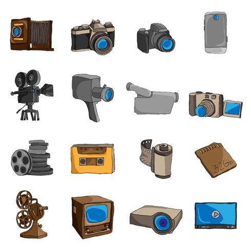 Photo video doodle icons colored